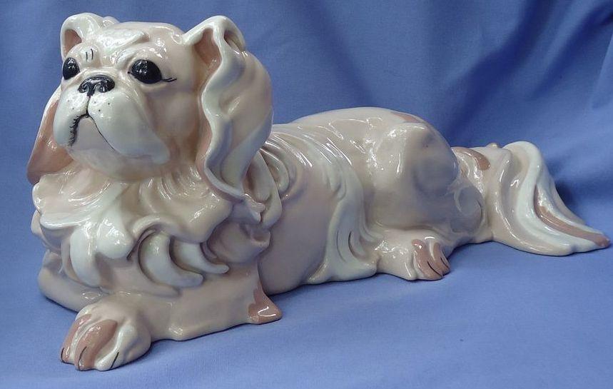 """HTF 1930/40s Kay Finch  Pekingese dog 13"""" signed"""