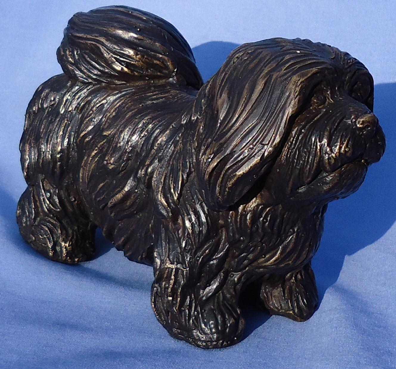 """bronze Lhasa Apso dog Tibetan terrier 7"""""""