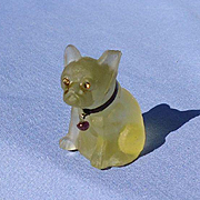 vintage French Bulldog lemonade color glass perfume top Czechoslovakia 2""