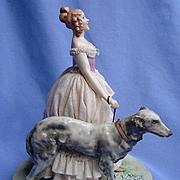 "vintage BORZOI lace lady Luigi Fabris Italy 8"""