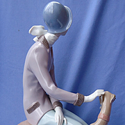 """lladro lady & Greyhound 14""""  mint w box"""