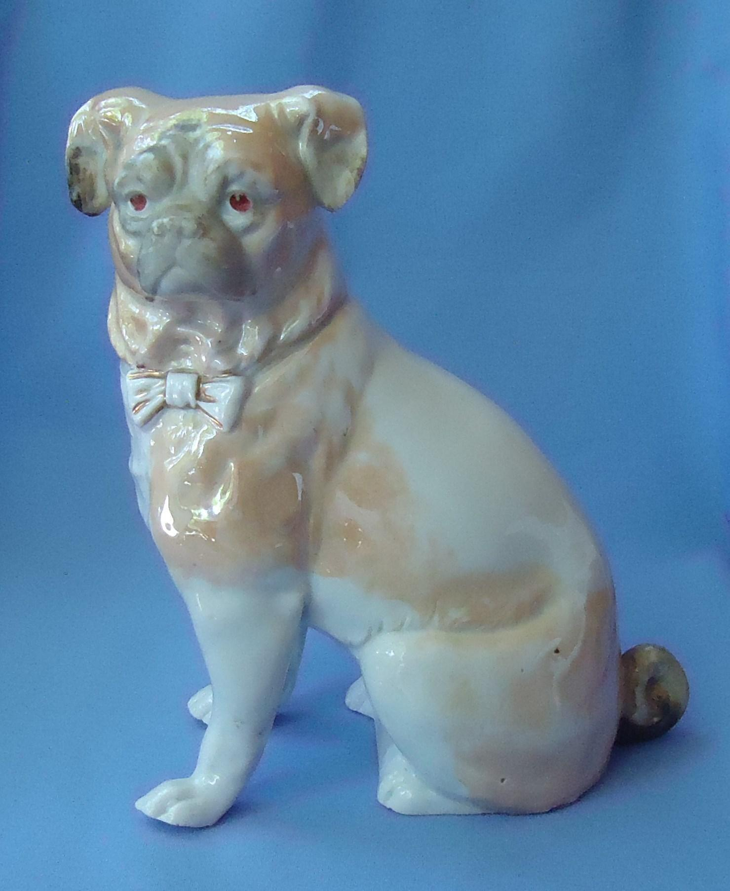"antique luster wear Pug 10"" Germany 2313"