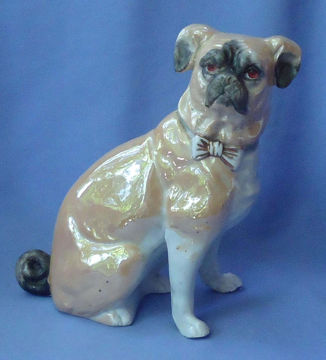 "antique luster wear Pug 10"" Germany 2375"