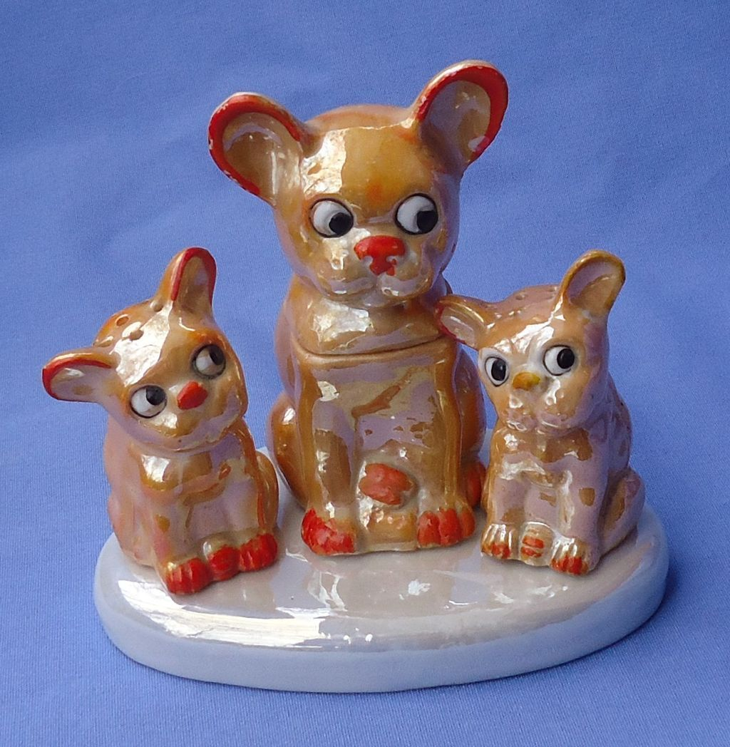 art deco lusterware French Bulldog set Germany