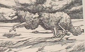 ..original 1979 LE woodblock print running Borzoi Van Loan