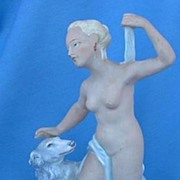 1920s art deco nude & Borzoi Germany 8""