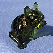 olive color glass French bulldog 3""