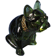 """olive color glass French bulldog 3"""""""
