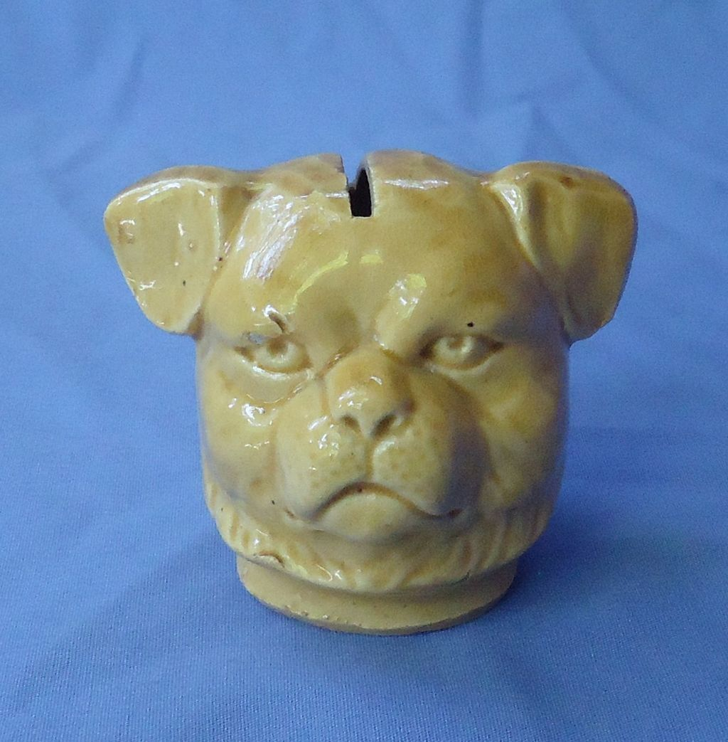 antique Pug money bank yellowwear