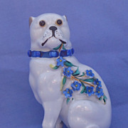 Pug  with Forget Me Knots blue flowers 5""
