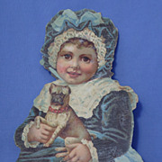 vintage Pug & girl ad card 9""