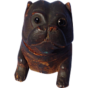 antique Pug carved wood inkwell glass eyes