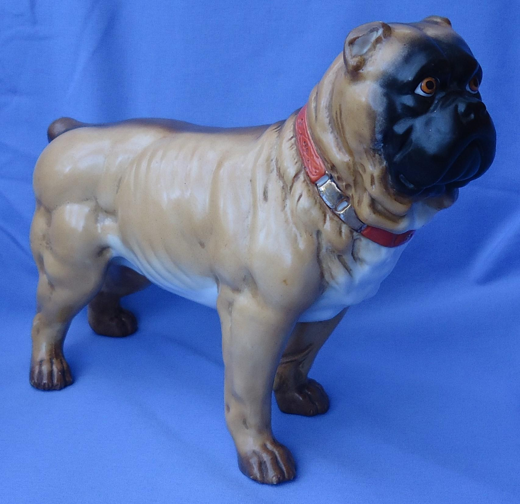 "antique Victorian Pug bull Mastiff standing dog 10"" Germany"