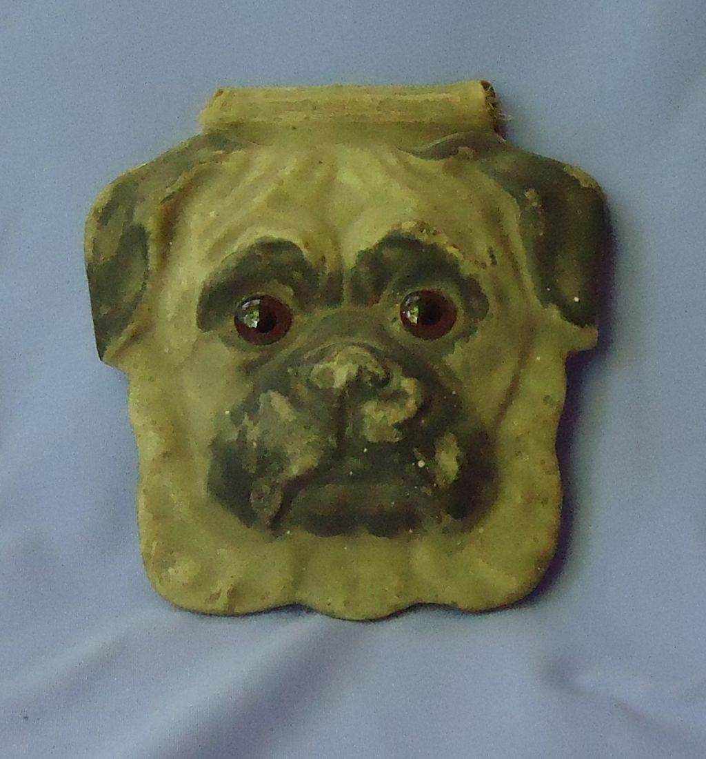 vintage Pug w glass eyes note pad 6""