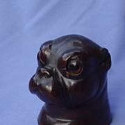1890s pug Black forest wood pipe holder