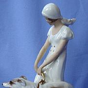"art deco lady BORZOI Pirkenhammer Czechoslovakia 9"""