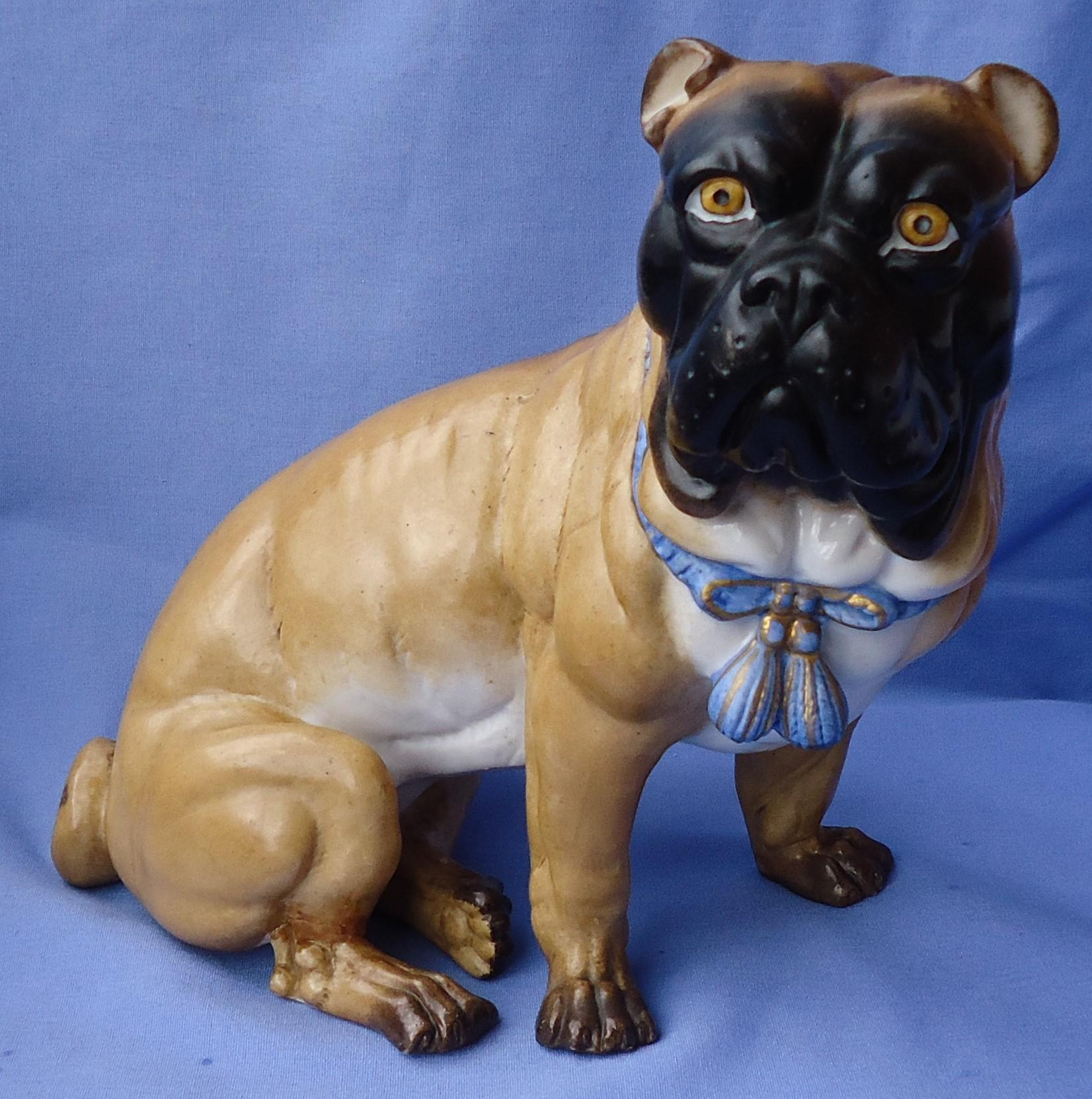 "antique Victorian Pug Mastiff dog 10"" Germany"