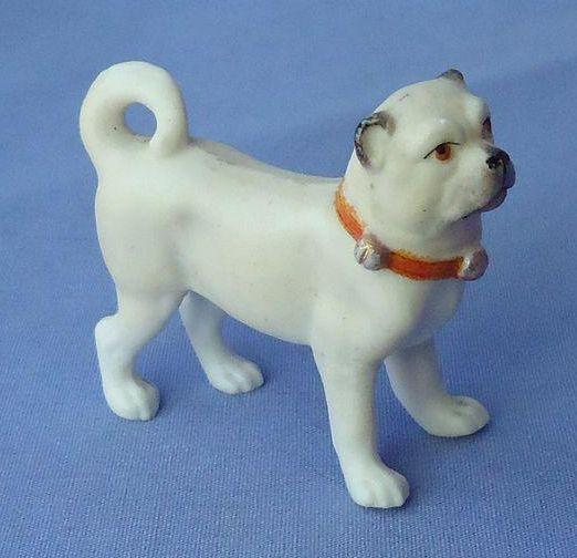 vintage bisque standing PUG orange bell collar