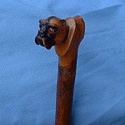 antique  riding crop carved wood PUG glass eyes