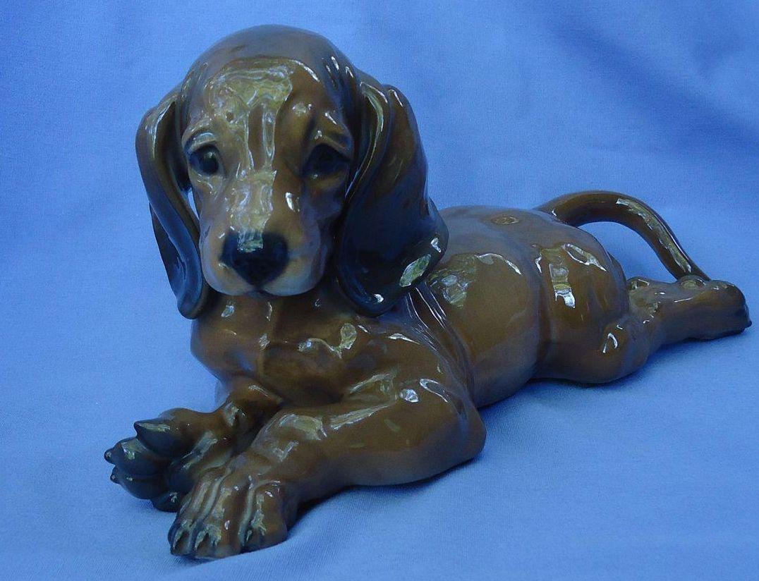 "1930s Rosenthal Dachshund puppy dog 8"""