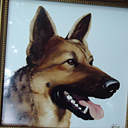1950s Rosenthal German Shepherd Alsatian dog painting