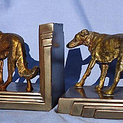 art deco bronze Borzoi bookends Ronson