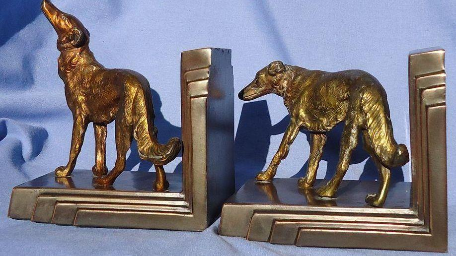 art deco bronze Borzoi bookends Ronson