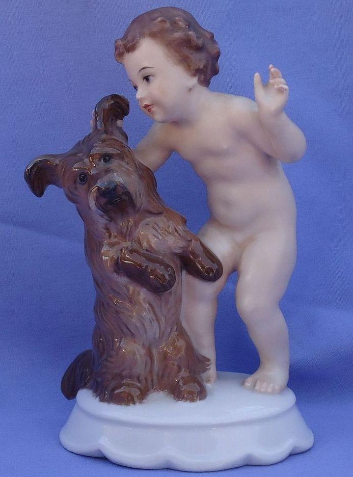 "Rosenthal Skye Silky terrier & boy 6"""