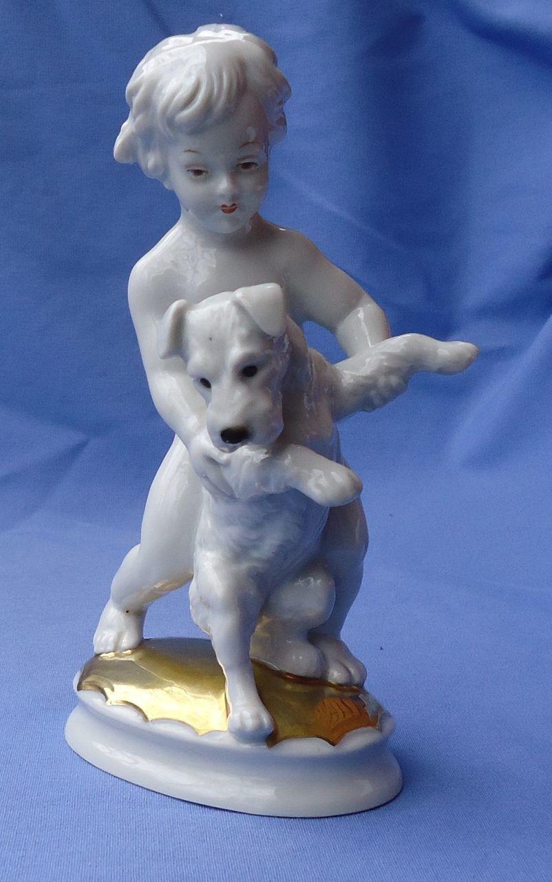"1930s Rosenthal boy Fox terrier Schnauzer 6"""