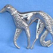 vintage silver BORZOI pin