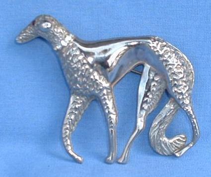 "vintage silver BORZOI pin 3"""