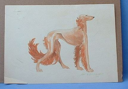 1934 original watercolor signed Saluki