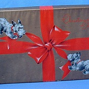 1930 Christmas box Scotty dog Scottish terrier playing pair 11""