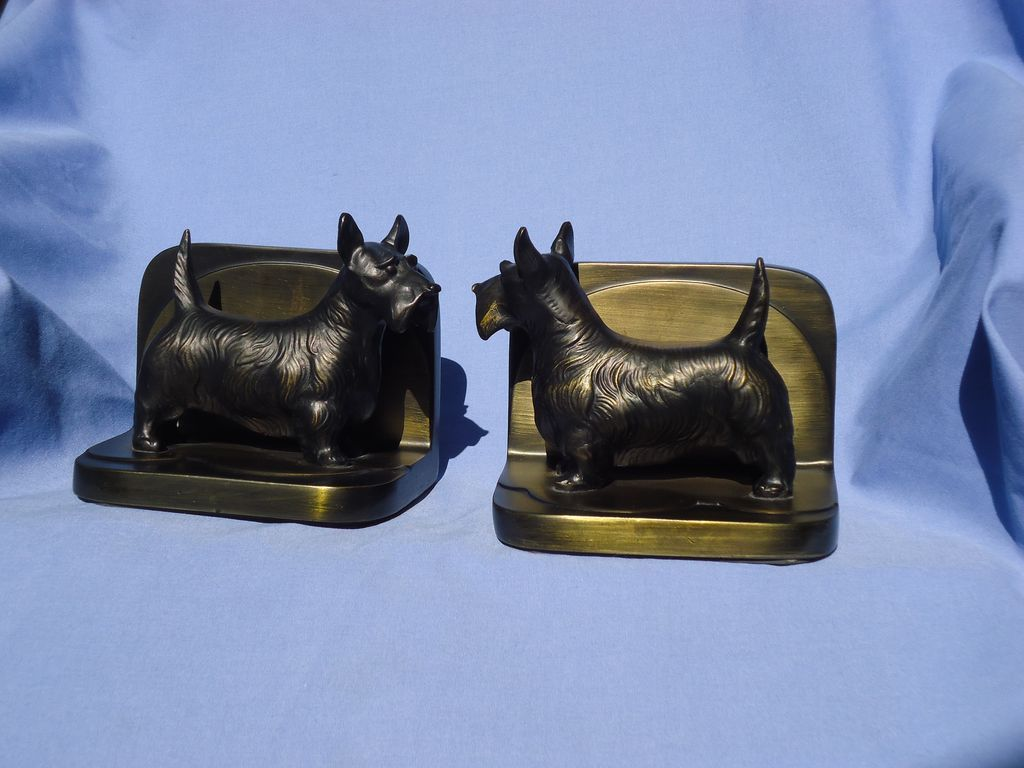 Scottish terrier Scotty dog bronze bookends