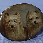 antique hand painted Skye Silky terrier Briard dog silver brooch