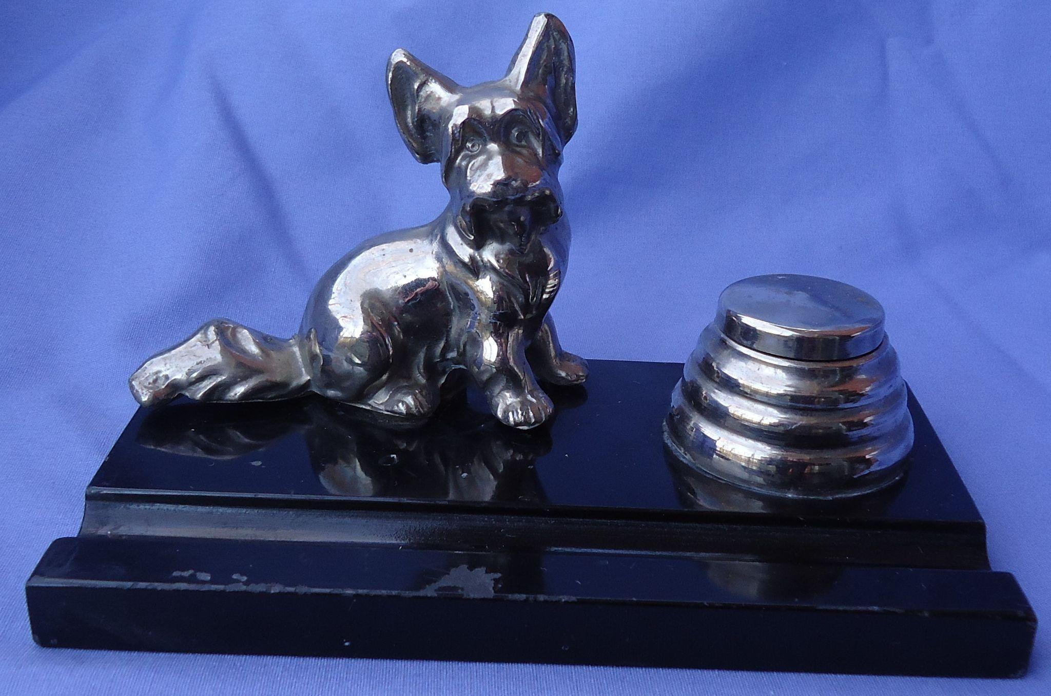 art deco Skye Silky terrier  Briard dog chrome inkwell Ronson