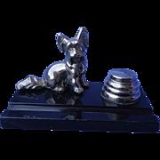 art deco Skye Silky terrier  Briard dog chrome inkwell Ronson