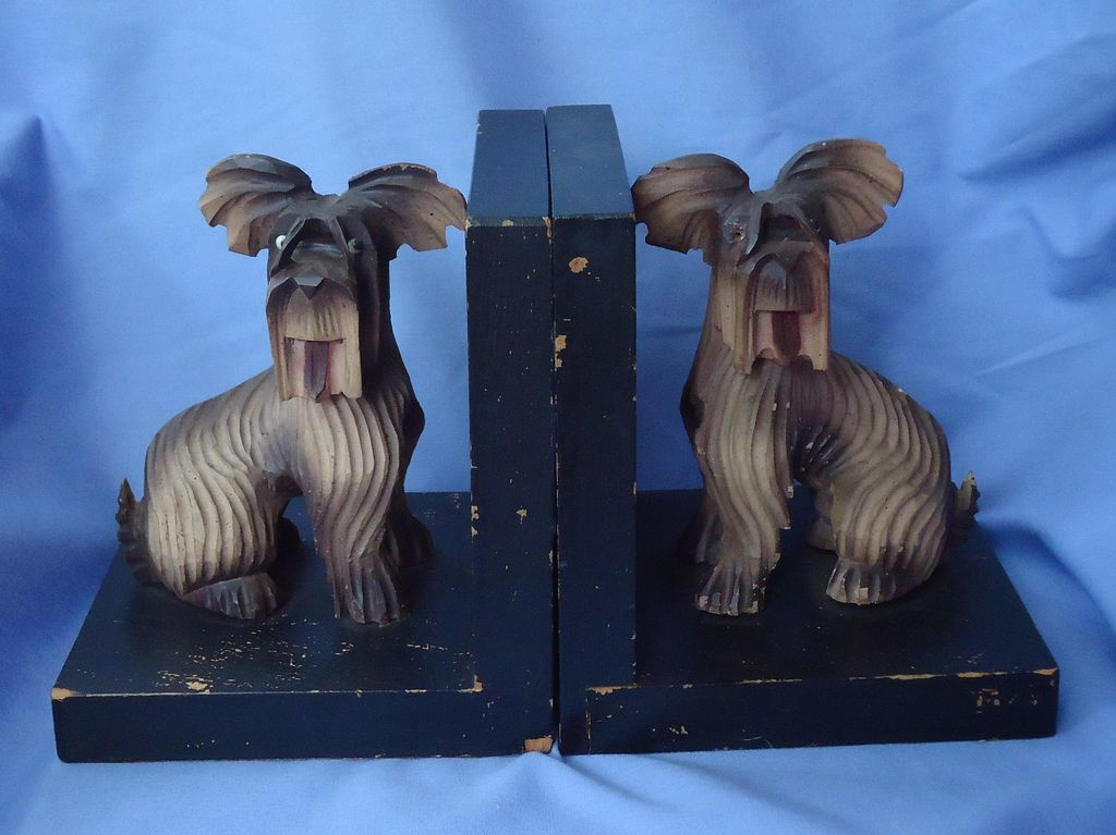 "7"" Skye Silky terrier Briard dog bookends Anri"