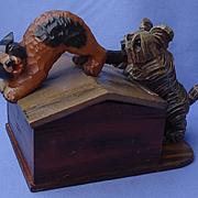 1940 Skye Silky terrier Briard cat cigarette box Anri Germany