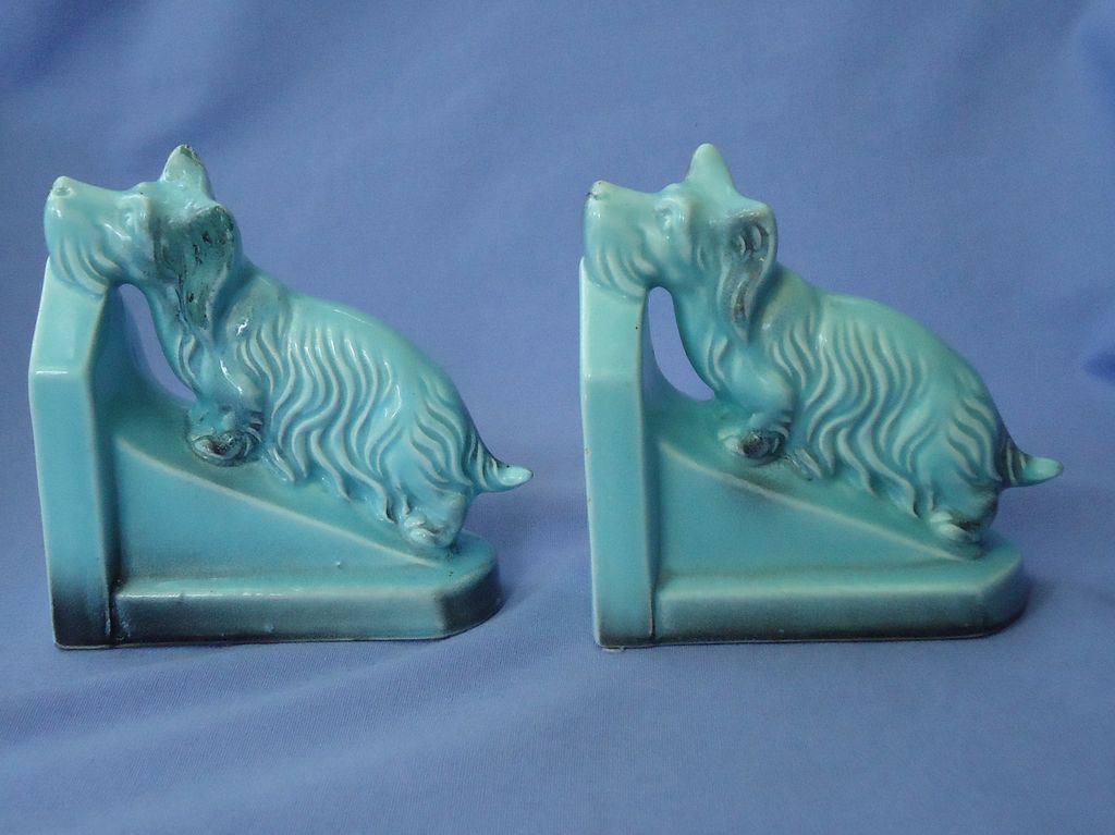 1930 Skye Silky terrier Briard dog bookends Germany
