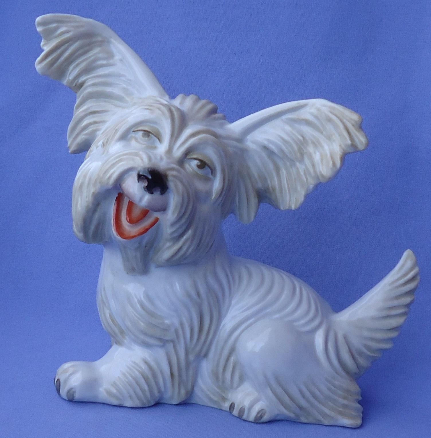 "1930 Rosenthal Skye Silky terrier Papillon  Briard dog 9"""