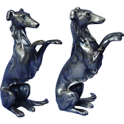 silver Borzoi bookends