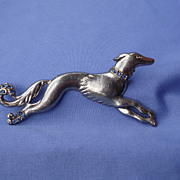 Borzoi Saluki silver color pin 5""