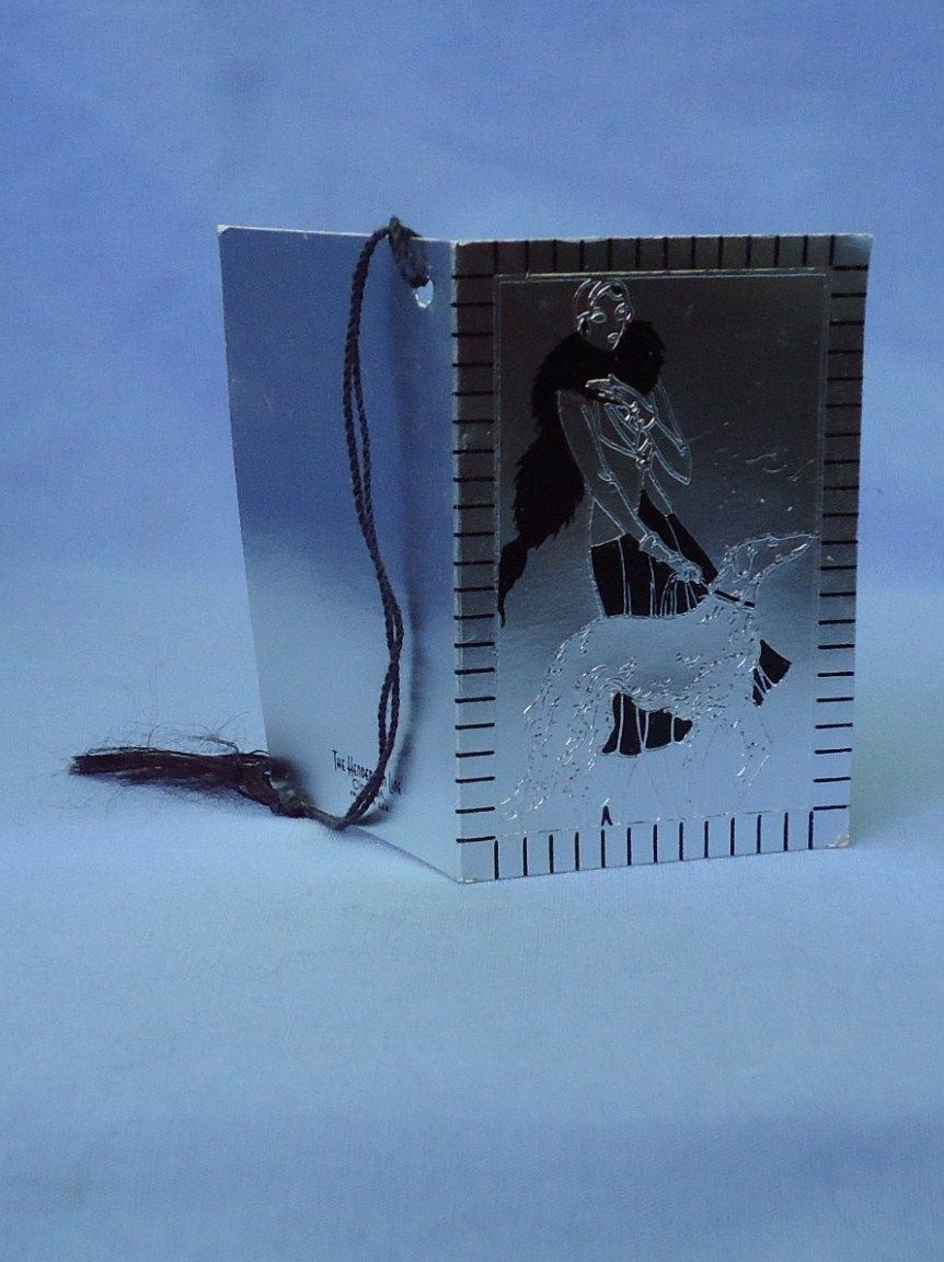art deco silver  & black  flapper & Borzoi bridge score card