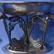 "art deco silver plt Borzoi 11"" WB2930"