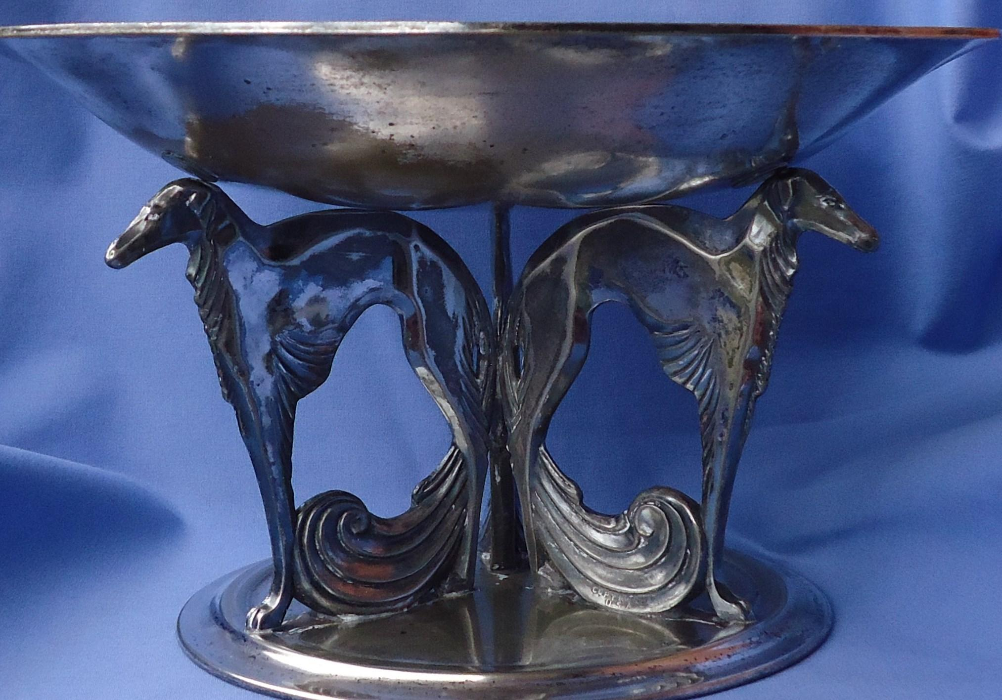 """art deco silver plt Borzoi Weidlich Brothers 11"""" WB2930"""