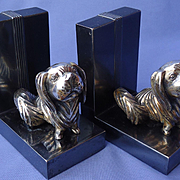 art deco silver Pekingese J.B. bookends Jennings Bros.