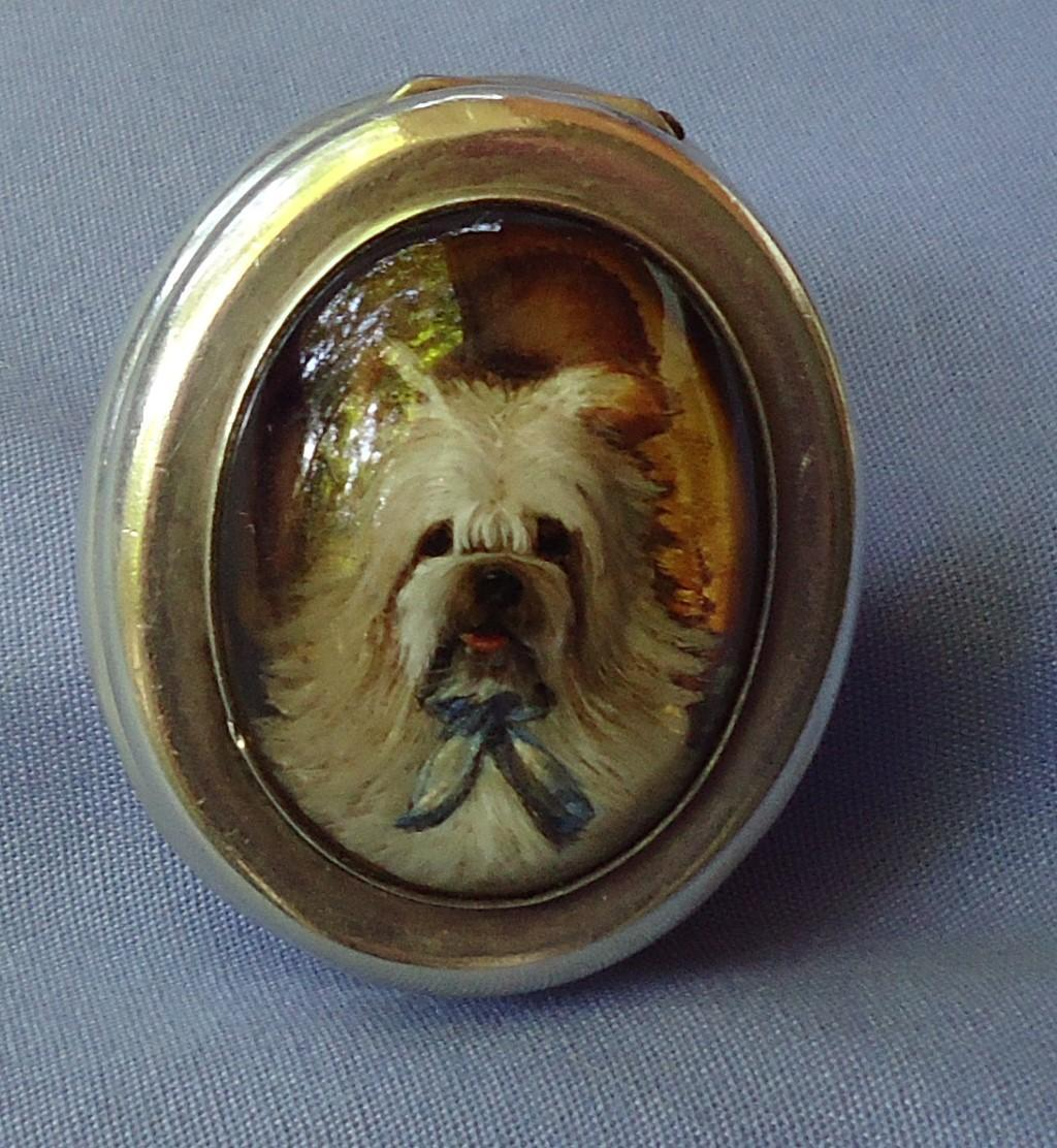 antique silver snuff  box Skye Silky terrier Essex crystal