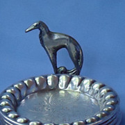 deco Borzoi silver plt tray set