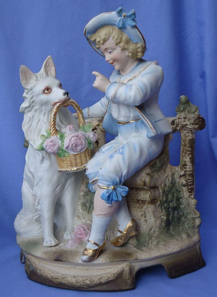 white German Shepherd spitz American Eskimo & boy Victorian bisque 11""